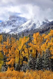 Colorado, fall, Cimarron Range, snow, vertical