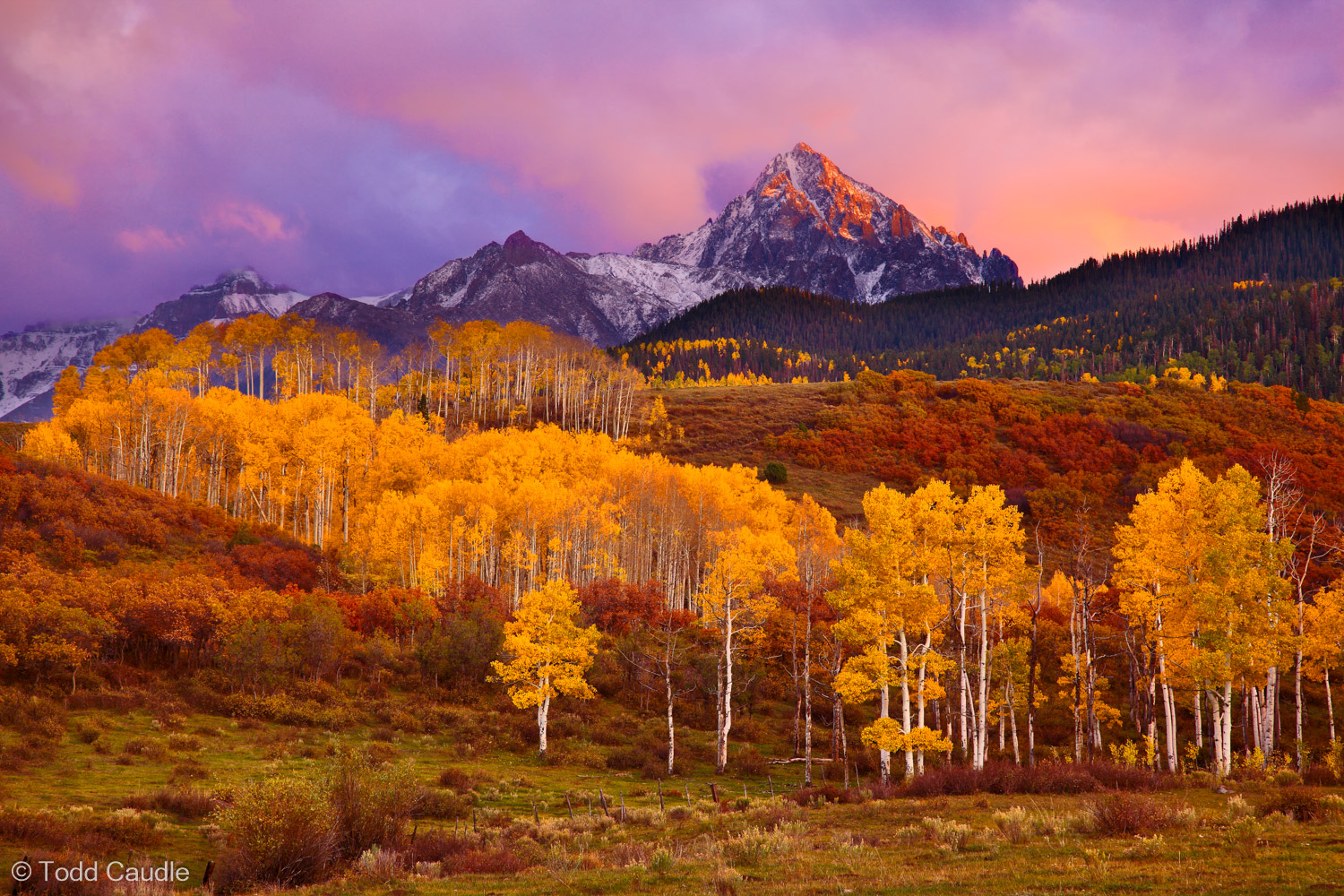 One of the most spectacular sunsets in memory lights the sky over Mount Sneffels on fire on a perfect fall evening.