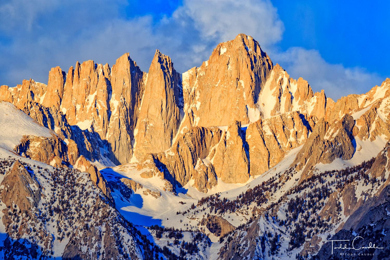 Sunrise light on Mount Whitney and Keeler Needle, Sierra Nevada Range, California. Whitney is the highest peak in the contiguous...