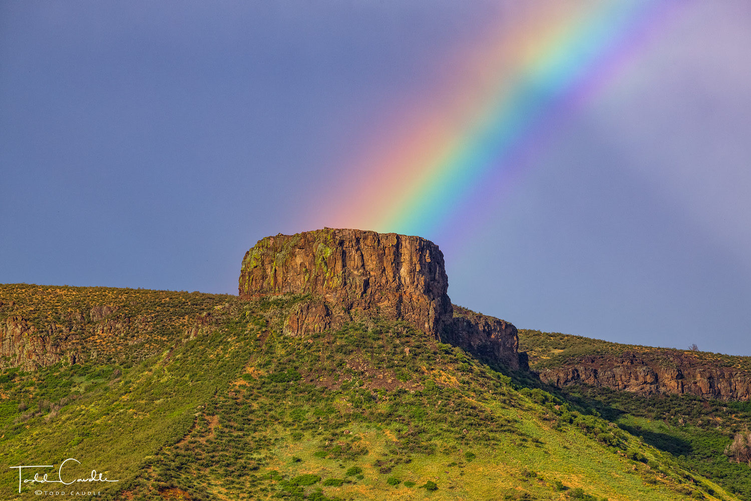 A rainbow arcs off the summit of Castle Rock, the familiar rock outcrop that represents the skyline of the town of Golden. This...