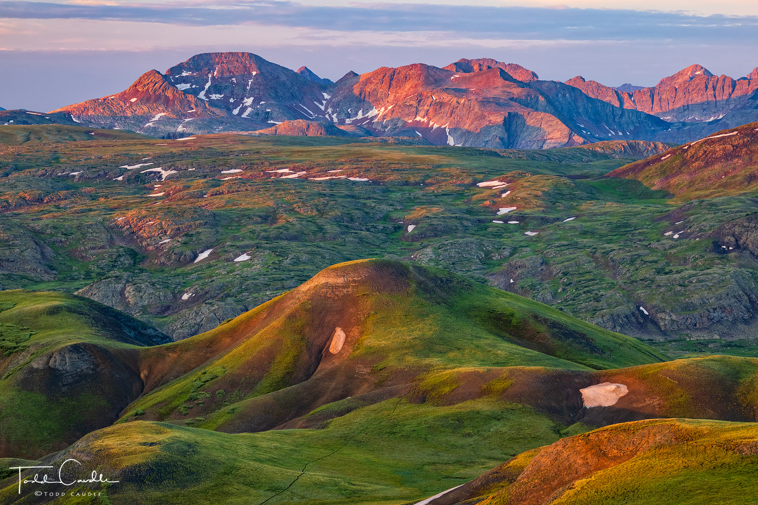 The Colorado Trail cuts across the tundra near Stony Pass, on its meadering way to the mighty Grenadier Range in the distance...