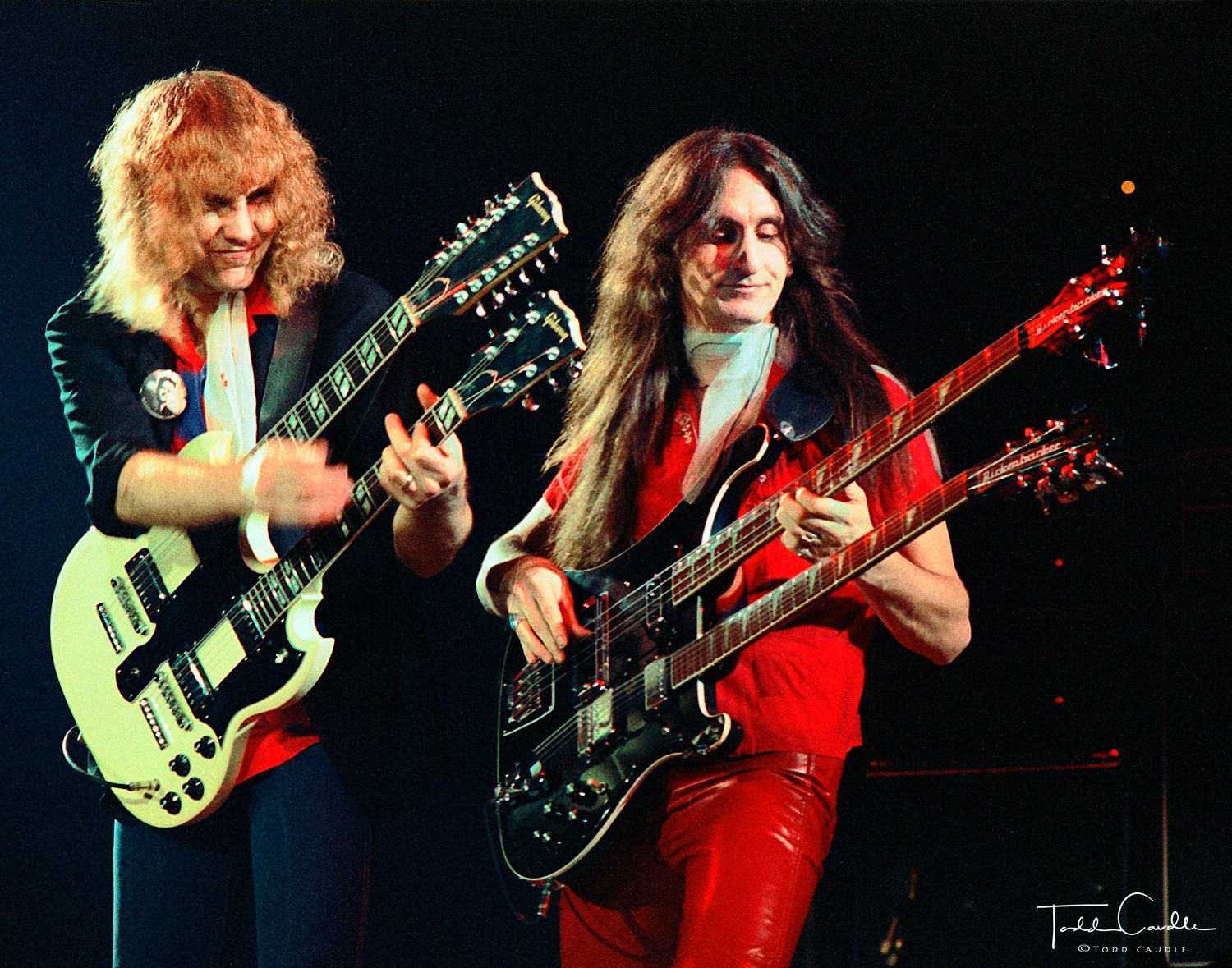 Alex Lifeson and Geddy Lee of Canadian progressive power trio Rush perform at McNichols Arena in Denver on March 1, 1980.